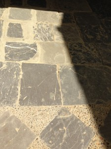 from chequer flagstone/cobbles in concrete to natural flagstones