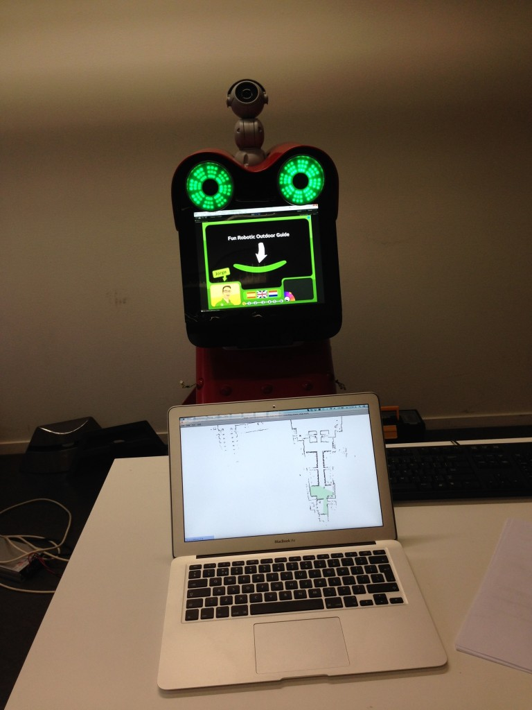 UPO simulator running on a laptop. The robot is showing its content relevant to the location that the simulator has reached.