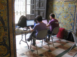 Jie Shen and Ioannis Marras at work in the Royal Alcázar in Seville, September 2014